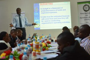 Financial Analyst  Bob Bosire takes the SME's through a financial planning session at workshop organized by KAAA