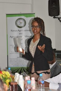 An entrepreneur displays her product at a SME's training organized by KAAA